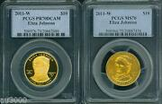2011-w 10 Gold Spouse Eliza Johnson Pcgs Pr70 Pf70 And Ms70 Proof Ms 2-coins Set