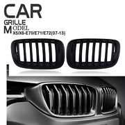 For Bmw E70 X5 E71 X6 2007-2013 Matte Black Front Grille Kidney Cover Right+left