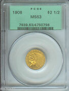 1908 2.5 Indian Pcgs Ms63 Ms-63 Old Green Holder Ogh First Year Of Issue