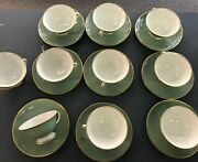 22 Pc Franciscan Pottery Fine China Palomar Green Cup/saucer Set