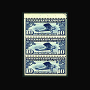 Us Air Mail Stamp-mint Ogandnh, Vf/xf Sc10a Booklet Pane Of 3, Superior Centering