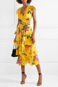 Etro Yellow Pink Floral Lily Faux Wrap Tiered Ruffle Silk Georgette Dress 46 10