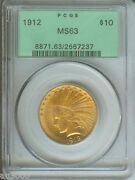 1912 10 Indian Eagle Pcgs Ms63 Ms-63 Better Date Old Green Holder Ogh