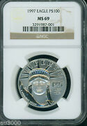 1997 100 Statue Liberty Platinum 1 Oz. Ngc Ms69 First Year Of Issue Stunning