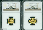 1997 Small And Large Date 10y G10y 10 Yuan Gold Panda 1/10 Oz Ngc Ms69 2-coins Set