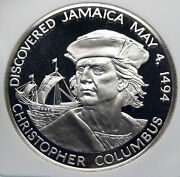 1975 Jamaica New World Discovery Columbus Proof Silver 10 Dollar Coin Ngc I85371