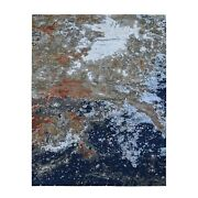 8and0391x10and0392 Abstract Design Denser Weave Wool And Silk Hand Knotted Rug R59064