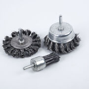 3pcs Steel Wire Brush Drill Wheel Cups Polishing Deburr Rust Removal Clean Tools