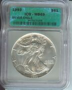 1993 American Silver Eagle Ase S1 Icg Ms69 Ms-69 Beautiful