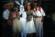 35mm Slide 1950s Red Border Kodachrome Adults In Halloween Costumes Bunny Hula