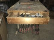 Table Wood Working Bench 60 X 27 X 34h And 17 Bar Clamps And 15 Jorgenson 10