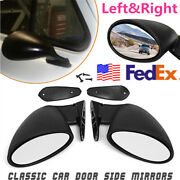 Vintage Black Pair California Classic Style Car Door Wing Side Mirror Left Right