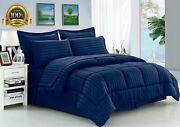 Elegant Comfort Wrinkle Resistant - Silky Soft Dobby Stripe Bed-in-a-bag 8-piece