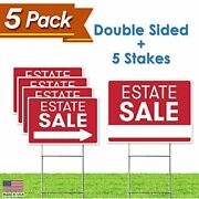 Estate Sale Sign Bundle Kit - Upgraded 5 Double Sided Red Pro Real Property Yard