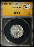 1926-s Standing Liberty Quarter. Tear Drop And Clashed E. Anacs Holder Au50 G759