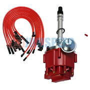 Red Distributor And Spark Plug Wire 10.5 Mm 90 Degree For Sbc Bbc 305 350 454 V8