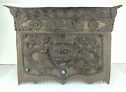 Antique - Tibetan Metal Folding Altar Table - Turquoise Red Coral Decoration