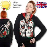 Banned Apparel Womenand039s Sugar Candy Skull And Red Roses Punk Gothic Emo Alt Hoodie