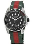 New Dive Black Dial Green And Red Nylon Fabric Strap Menand039s Watch Ya136209a