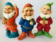 3 Happy Gnomes Holding Fruit Vintage Hand Painted Hf Co Made In Japan Labels