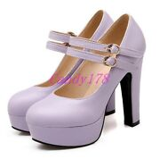 Womens Round Toe Mary Jane Round Toe Sandals High Heels Dress Shoes All Size