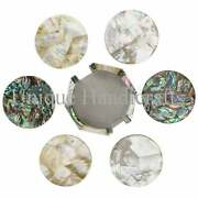 Coaster Set 6 Assorted Coaster Tile Handmade Mother Of Pearl And Abalone Shell