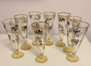 8 Vintage Libby Beer/pilsner Glasses Antique Auto And Carriage Designs  21868