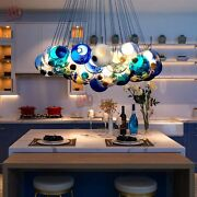 Modern Chic Cluster Pendant Light With Multi-color Hand-blown Glass Globes Light