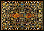 4and039x3and039 Black Marble Center Dining Table Top Scagliola Inlay Art Garden Decor B575