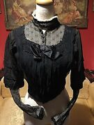 1800andrsquos Victorian Edwardian Hand Sewn Silk Blouse Jacket With Boning Mesh Detail