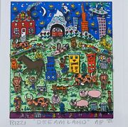 James Rizzi 3d Serigraph Dreamland A/p Signed Editioned 1 Of 50and Framed