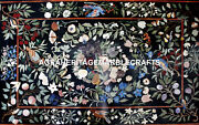 Black Marble Foyer Table Dining Center Top Inlaid Arts Living Room Decor H5618