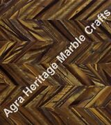 Marble Golden Tiger Eye Semi Precious Coffee Dining Table Top Unique Pattern Art