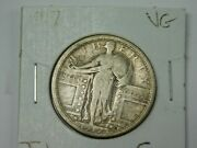 1917 Standing Liberty Quarter Type 1 Very Good 90 Silver Coin 2/38