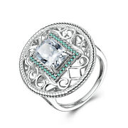Solid 18k White Gold Cushion 10x7mm Cubic Zirconia Wedding Vintage Antique Ring