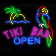 Tiki Bar Open Neon Light Sign Lamp 19 Beer Glass Decor Gift Real Signs