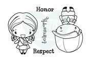Cute Troop-the Greeting Farm Rubber Stamp-stamping Craft-anya/ian-boy/girl Scout