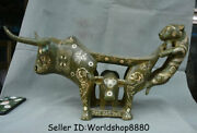20 Old China Bronze Silver Ware Dynasty Tiger Bull Oxen Statue Weeping Willow
