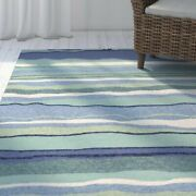 Tropical Coastal Stripe Indoor Outdoor Hand-hooked Area Rug Free Shipping