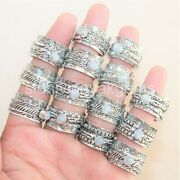 200 Pcs. Lot Natural Moonstone 925 Silver Plated Spinner Rings Yoga Band Jewelry