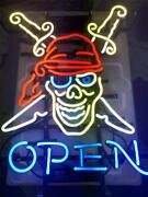 Pirate Open Neon Light Sign Lamp 19 Beer Bar Glass Decor Gift Real Signs