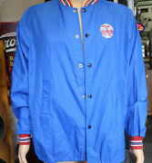 Vintage Red Crown Oil Gas Service Station Blue Snap Closure Button Down Jacket