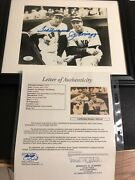Autographed Joe Dimaggio And Ted Williams 8x10 Photo Framed Jsa Certified Signed