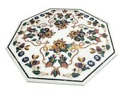 4and039 Marble White Dining Table Top Multi Stone Floral Inlay Furniture Decor W094b
