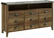 Walker Edison Furniture Company Industrial Farmhouse Wood Universal Stand Cab...