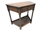English Tiger Oak Spoon Carved Entry Table With Drawer And Lower Shelf
