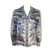 Emilio Pucci Navy Blue And Grey Button Down Shirt Size 10