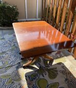 1930and039s Duncan Phyfe Antique Mahogany Drop Leaf Dining Table 2 Leaves