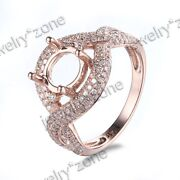 Round Cut 7.5mm Solid 10k Rose Gold Diamonds Engagement Semi Mount Fine Ring