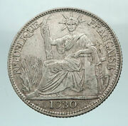 1930 A French Indo-china Genuine Silver 20 Cent Coin France Republic I80244